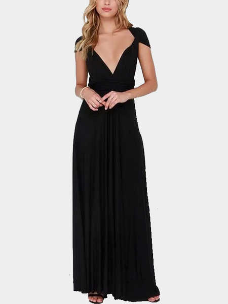 Black Multiway Self-tie Sleeveless Maxi Dress