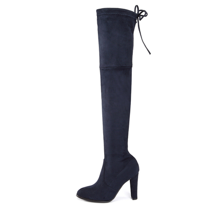 Navy Chunky Heels Lace-up Over The Knee Boots