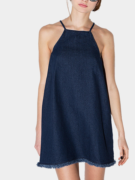 Lace-up Halter Denim Dress