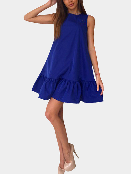 Deep Blue Round Neck sans manches Flounced Hem Mini Dress