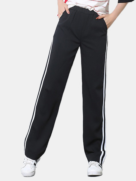 Active Contrast Color Stitching High Waisted Pants in White