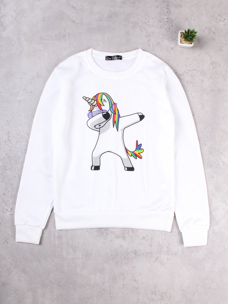 White Cartoon Pattern Round Neck Long Sleeves Sweatshirts