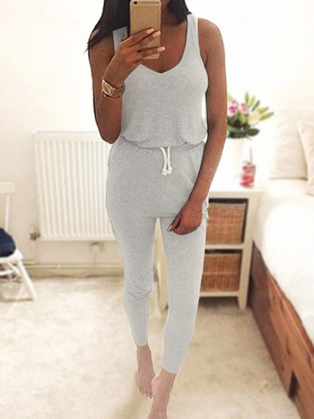Light Grey Drawstring Waist V-neck Sleeveless Jumpsuit