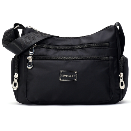 Black Fashion Multi Pocket Crossbody Bag