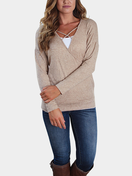 Khaki Casual Criss-cross Front Deep V-neck Wrap Tee