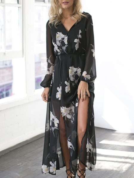 Semi-sheer Long Sleeves Splited Hem Sexy Dress In Floral Print
