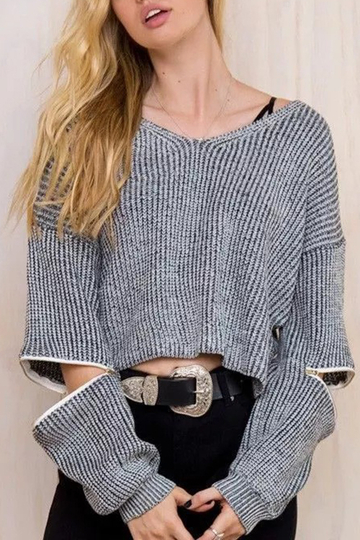 Grey Fashion V-neck Zip Sleeves Jumper