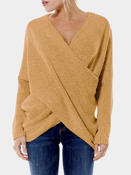 Yellow Cross Front V-neck Irregular Hem Jumper