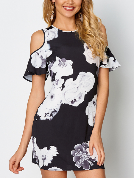 Black Floral Print Cold Shoulder Short Sleeves Dress