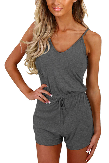 Grey Sexy V-neck Drawstring Waist Playsuit