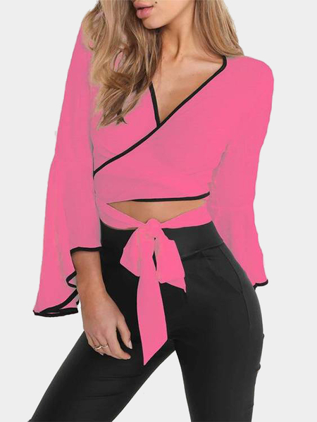 Neon Pink V-neck Self-tie Top
