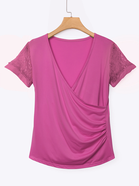 Rose Low Cut V-neck Wrap Front Lace Insert T-shirts