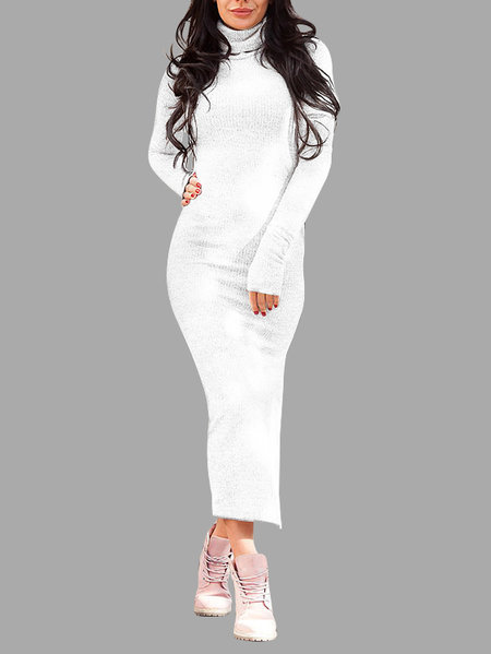 White High Neck Long Sleeves Splited Hem Maxi Dress