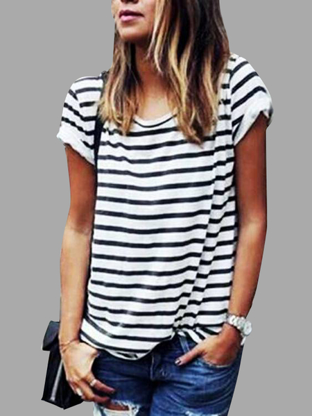 Black And White Stripe Basic T-shirt