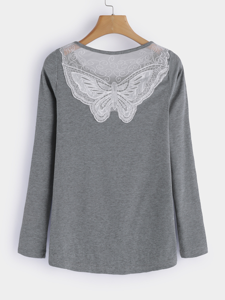 Grey Lace Details Round Neck Long Sleeves T-shirts