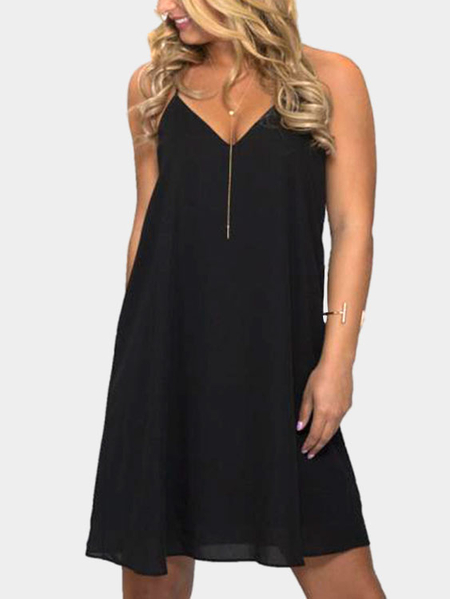 Black Sexy V Neck & Sans manches Backless Mini Dress