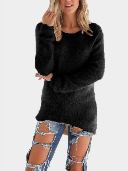 Black Round Neck Long Sleeves Sweater Top