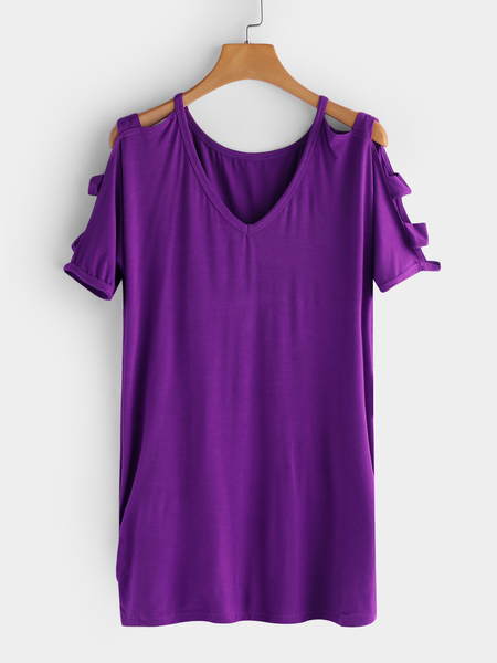 Purple Cut Out Design Plain Cold Shoulder V-neck Short Sleeves T-shirts