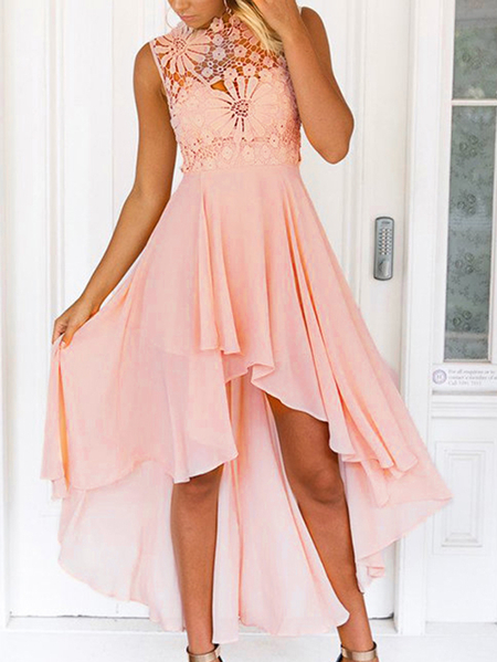 Delicate Crochet Lace Detalles Maxi Dress in Pink