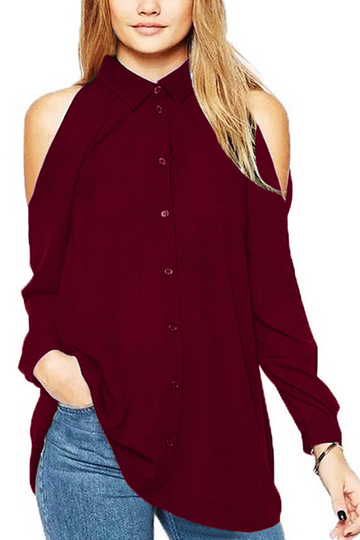 Burgundy Cold Shoulder Shirt Blouses