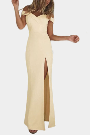 Khaki Off Shoulder Splited Hem Maxi Dress