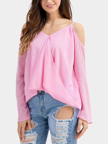 Pink Plain Cold Shoulder Long Sleeves Blouses