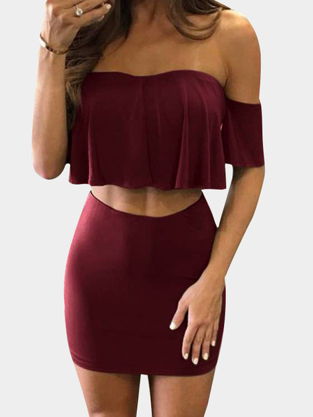 Burguny Crop Top & Skirt With Off Shoulder