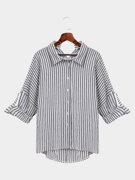 Casual Stripe Pattern Shirt In White And Gray