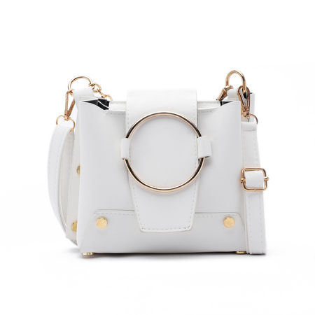 Off White Metal Ring Crossbody Bolsas con cadena