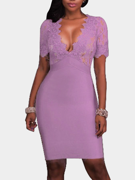 Purple Crochet Lace Embellished Deep V-neck Short Sleeves High Waist Sexy Dress