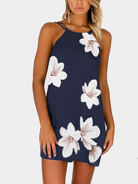 Random Floral Print Mini Dress in Navy