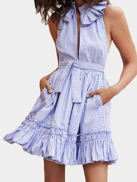 Light Blue Stripe Pleated Design Halter Mini Dress