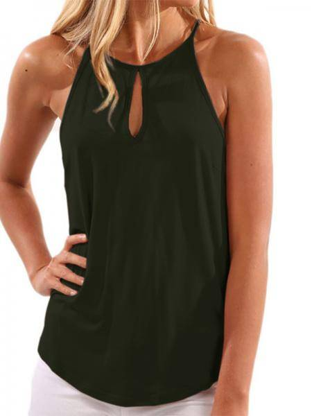 Army Green Sleeveless Design Chest Cut Out Top