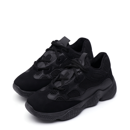 Black Casual Mesh Lace-up Sneakers