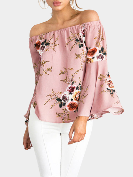 Pink Random Floral Print Off The Shoulder Bell Sleeves Blouse