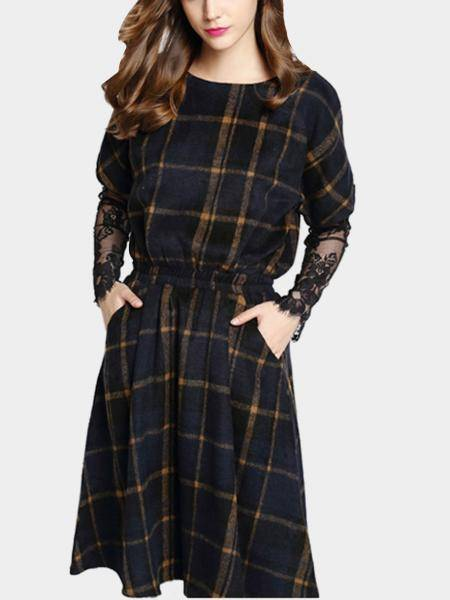 Navy Check Lace Sleeve Dress