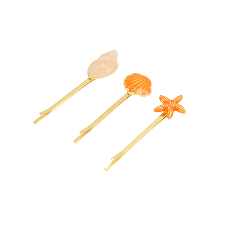 Orange Starfish & Conch & Shell Hair Clips