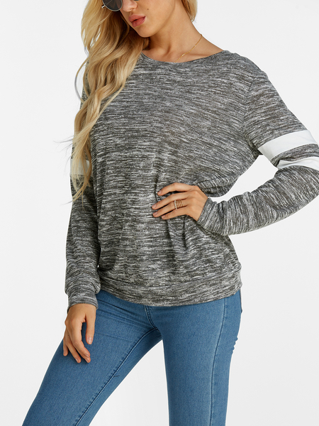 Grey Plain Crew Neck Strip Details Long Sleeves Sweater