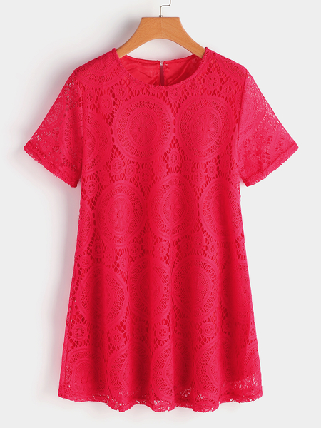 Plus Size Red Hollow Out Lace Blouse