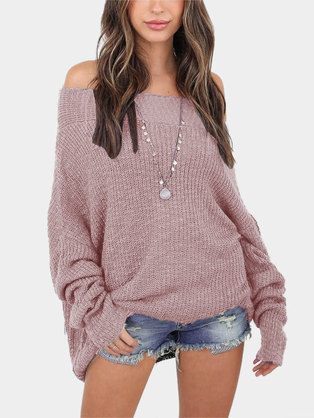 pinkish Purple Off The Shoulder Long Sleeves Loose Plunge Sweaters