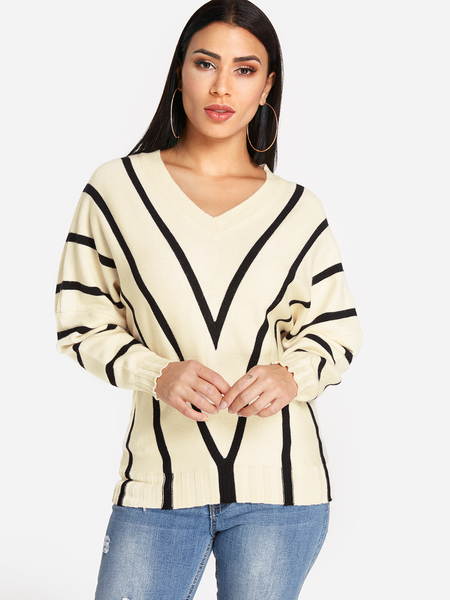Beige Stripe Pattern V-neck Long Sleeves Sweater