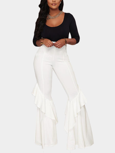 White Tiered Design Wide Leg Trousers