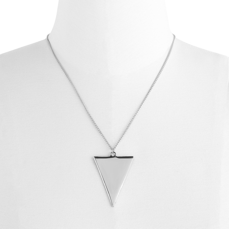 Silver Triangle Pendant Chain Necklace