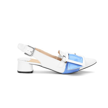 White Pointed Toe Low Block Heel Sling-back Shoes With Blue Pin-buckle Strap