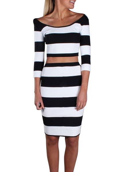 Black and White Stripe Pencil Dress Suits