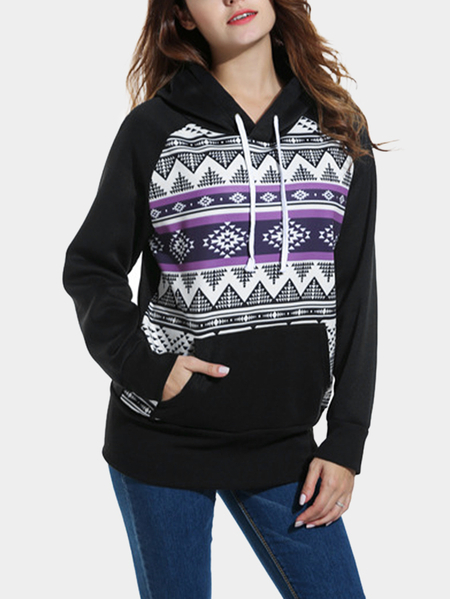 Black Hooded Design Printed Long Sleeves Sweatshirts