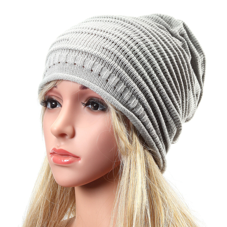 Light Grey Causal Knitted Rib Beanie