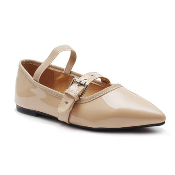 Apricot Buckle Design Ballet Flats with Elastic Design