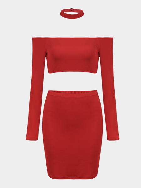 Red Long Sleeve Top Skirt Co-ord Set with Choker