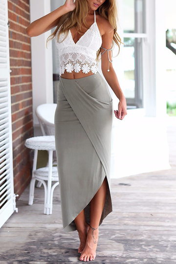 Sexy Lace Crop Top & Splited Skirt Two Piece Outfits